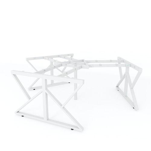 SFKC008 - Bàn cụm 3 chỗ ngồi góc 120 độ gỗ cao su chân sắt chữ K
