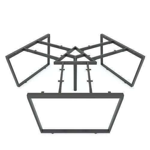 SFTC008 - Bàn cụm 3 chỗ ngồi góc 120 độ gỗ cao su chân sắt hình thang cân