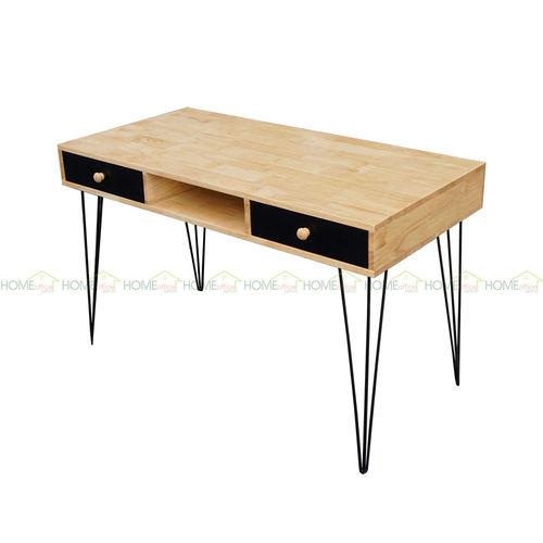 SFBHK006- Bàn  2 hộc kéo gỗ cao su chân sắt Hairpin ( 60x120x75cm)