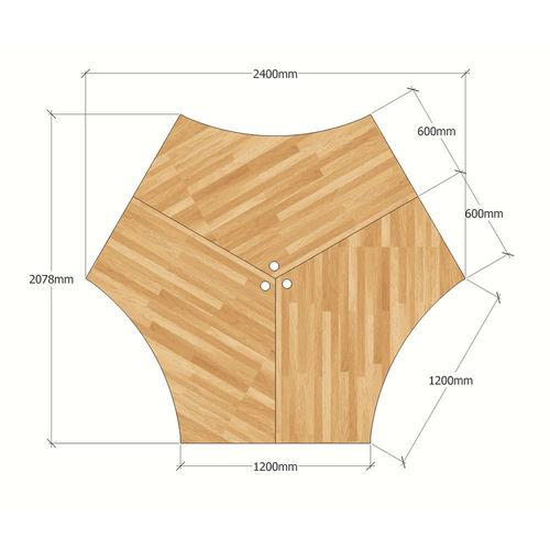 SFAC008 - Bàn cụm 3 chỗ ngồi góc 120 độ gỗ cao su chân sắt chữ A