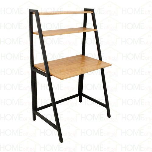 SFBK009 - Bàn làm việc kết hợp kệ gỗ cao su khung sắt chữ A