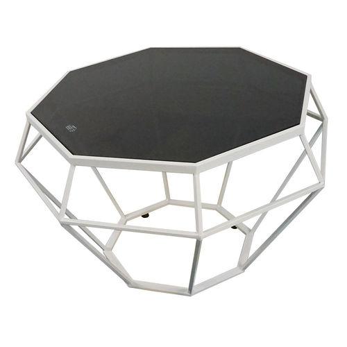 SFBT018 - Bàn Sofa Dimond khung trắng kính đen