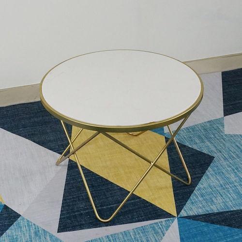 SFBT016- Bàn Sofa 4 chân chữ V vàng đồng mặt đá Trắng
