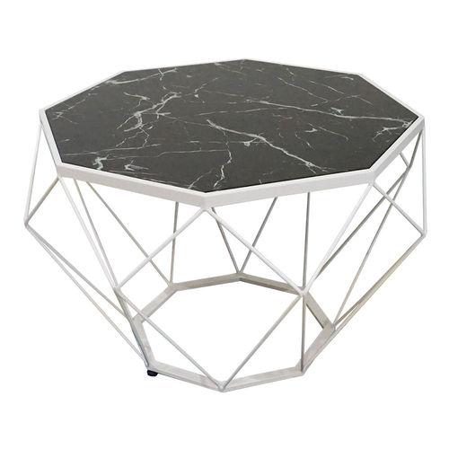 SFBT004 - Bàn Sofa Dimond khung sắt trắng mặt kính giả đá