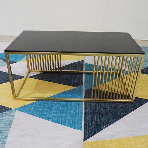 SFBT003 - Bàn Sofa chữ nhật khung vàng đồng mặt kính đen