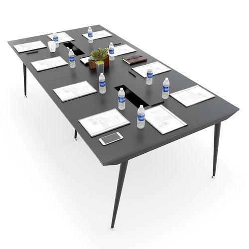 SFCN010 - Bàn họp văn phòng lớn gỗ cao su chân sắt Côn
