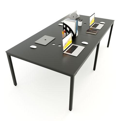 SFUC006 - Bàn làm việc cụm 4 chỗ ngồi gỗ cao su chân sắt chữ U