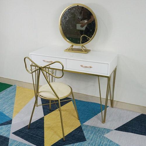 SFBTD017- Bộ bàn trang điểm chân Hairpin vàng đồng kèm gương và ghế