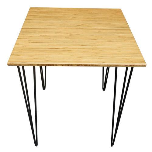 SFBCF003- Bàn Cafe vuông 60cm mặt gỗ tre chân sắt Hairpin
