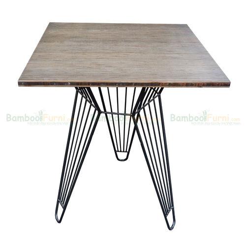 SFBCF009 - Bàn cafe gỗ TRE ÉP vuông 60cm chân sắt Lap