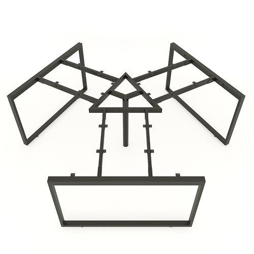 SFRT121 - Chân bàn cụm 3 chỗ sắt 25x50 lắp ráp hình chữ nhật