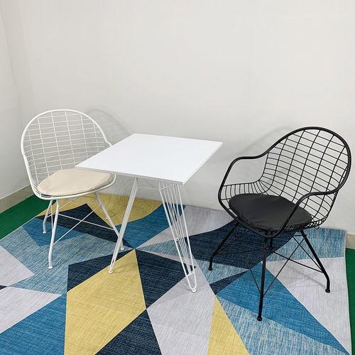 Bàn cafe vuông 60cm gỗ cao su sơn Trắng chân sọc phi 3
