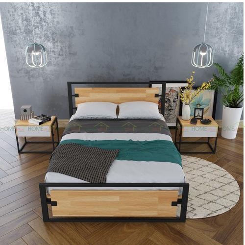 SFGN002 - Giường ngủ gỗ cao su khung sắt lắp ráp Ferrro 3