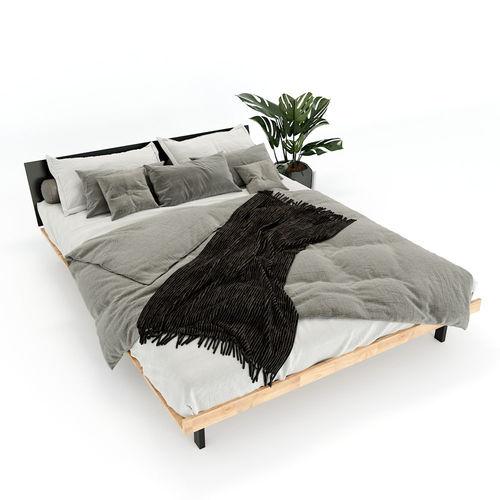 SFGN012 - Giường ngủ JAPA gỗ cao su khung sắt lắp ráp