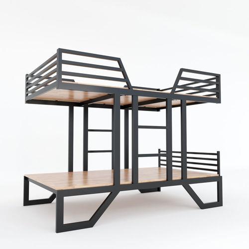 SFGN019 - Giường tầng UMA gỗ cao su khung sắt lắp ráp 2