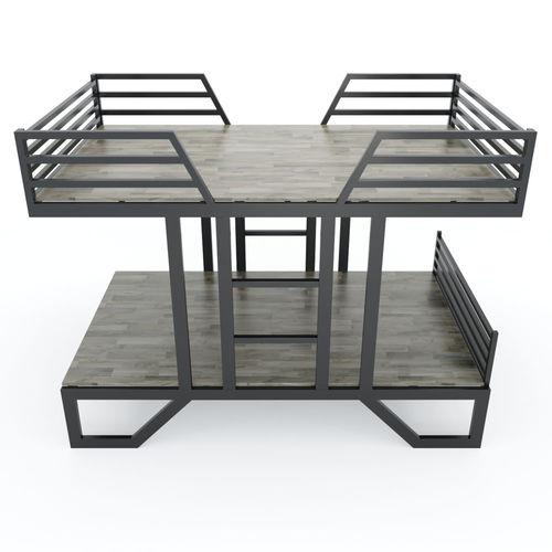 SFGN019 - Giường tầng UMA gỗ cao su khung sắt lắp ráp 3
