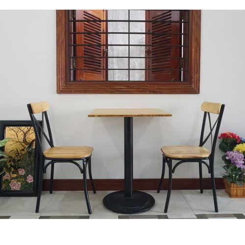 BFCBCF003 - Bộ bàn bàn CAFEBAMBOO chân sắt gang và ghế cafe lưng sắt