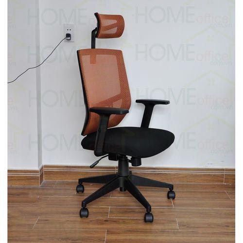 2 Ghế xoay văn phòng lưng lưới có tựa đầu chống mỏi màu cam FSGVP916H