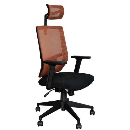 Ghế xoay văn phòng lưng lưới có tựa đầu chống mỏi màu cam FSGVP916H