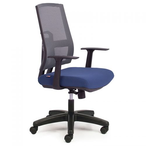 Ghế văn phòng chân xoay nệm xanh dương lưng lưới M1084-03
